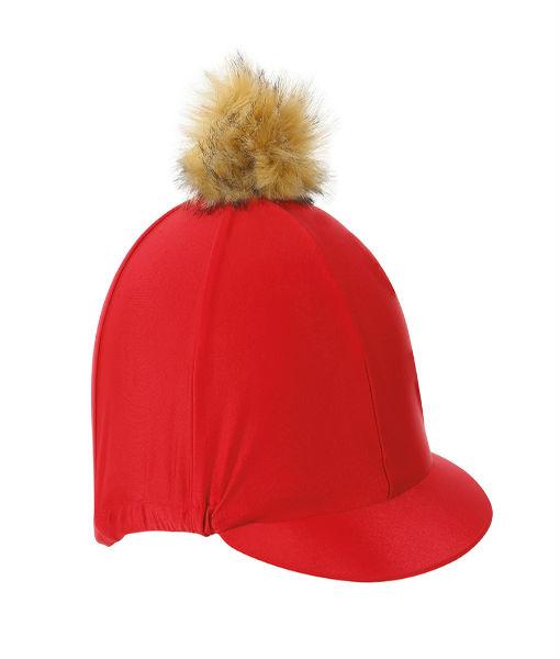 pom pom hat cover Red