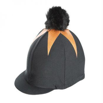 pom pom hat cover Black.Gold