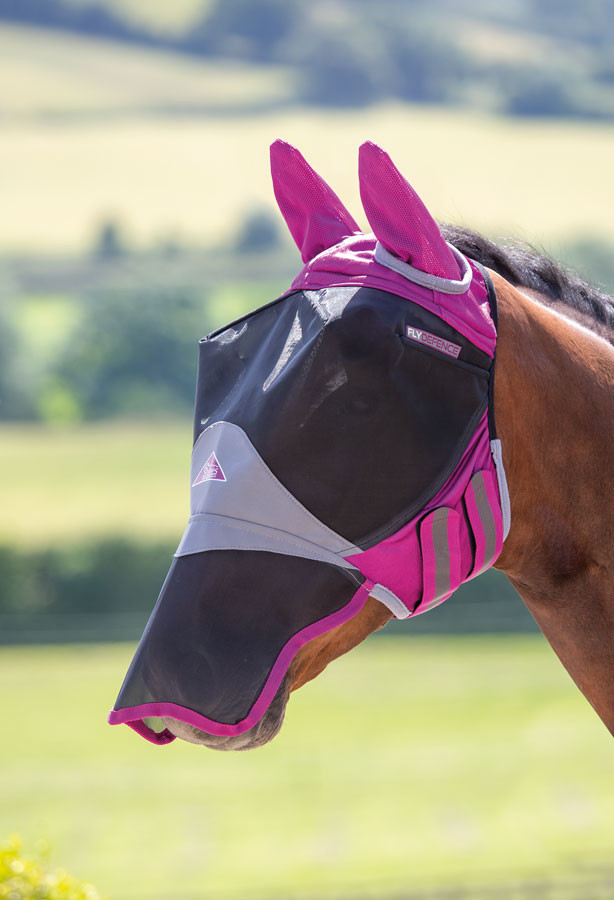 Deluxe Fly Mask with Ears and Nose Blue
