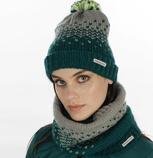 Hat and Snood Storm Green