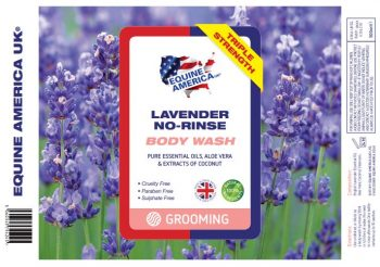 Equine America Lavender No Rinse Body Wash label