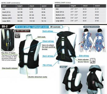 Hit Air Vest Size Chart
