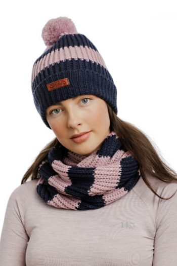 Horseware Hat and Snood Pink-Navy 2 (1)