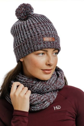 Horseware Hat and Snood Wine-Navy (1)