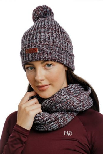 Horseware Hat and Snood Wine-Navy 2 (1)