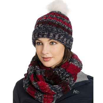 Horseware Hat and SNood Navy Stripe