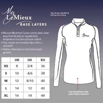 LeMieux Base Layer Size Guide
